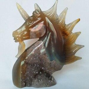 Image 2 - טבעי אבן אגת גילוף unicorn קריסטל גולגולת גבישי geode אשכול creative גילוף עיצוב הבית אצילי וטהור