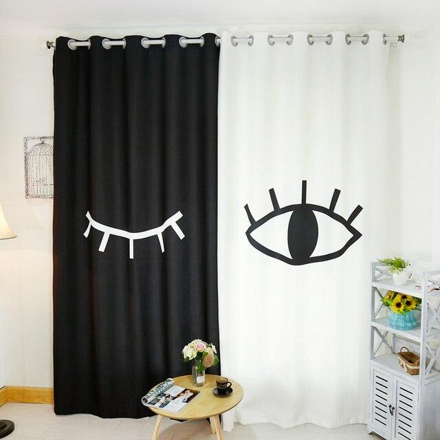 Senisaihon Korean 3D Blackout Curtains Cartoon Black White eyes ...