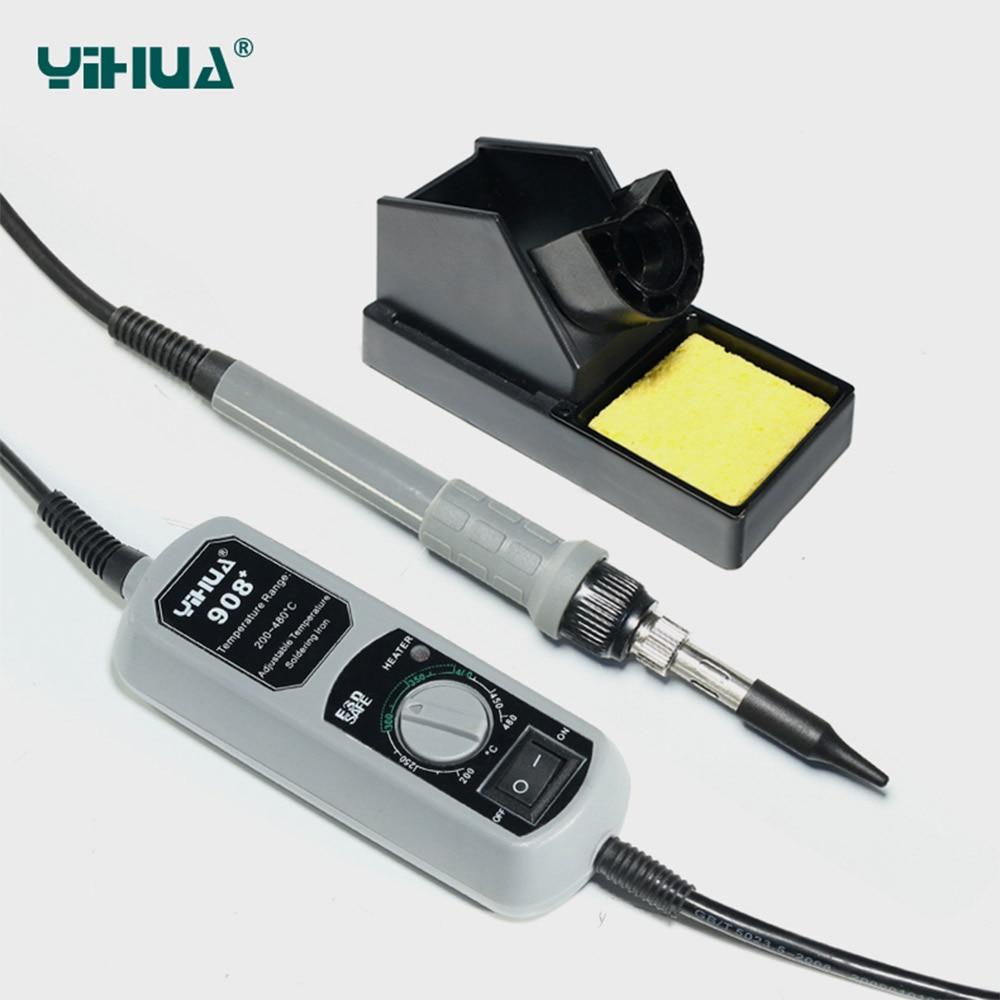 YIHUA 908+ jootekolb kaasaskantav rauast, kvaliteetne, vastupidav, reguleeritava temperatuuriga kaasaskantav jootekolb 110V / 220V