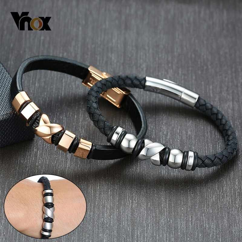 Vnox Mens Genuine Leather Bracelets Stylish X Beads Charms pulseira masculina 8.46""