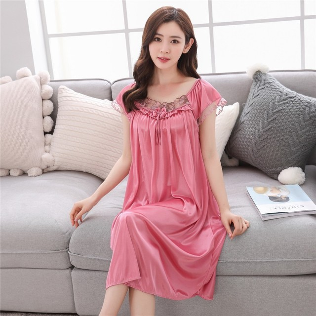 Lace nightgowns 2018 Summer sexy lady ice silk long sleep skirt women short  sleeves nightdress Young girl home sleeping clothes e0089966a