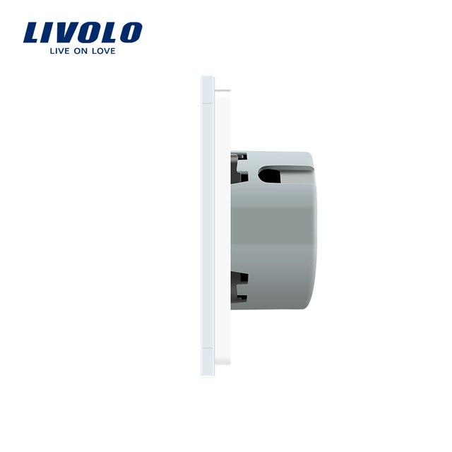 Livolo 2 Gang 1 Way Wall Touch Switch, White Crystal Glass Switch Panel, EU Standard,  220-250V,VL-C702-1/2/3/5 4