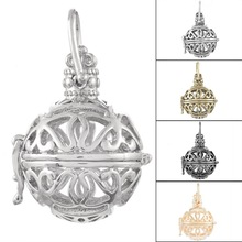 Fine Jewelry Copper Cage Pendant Round Hollow Magic Music Box Butterfly Pattern Necklace Pendant 2*1PC