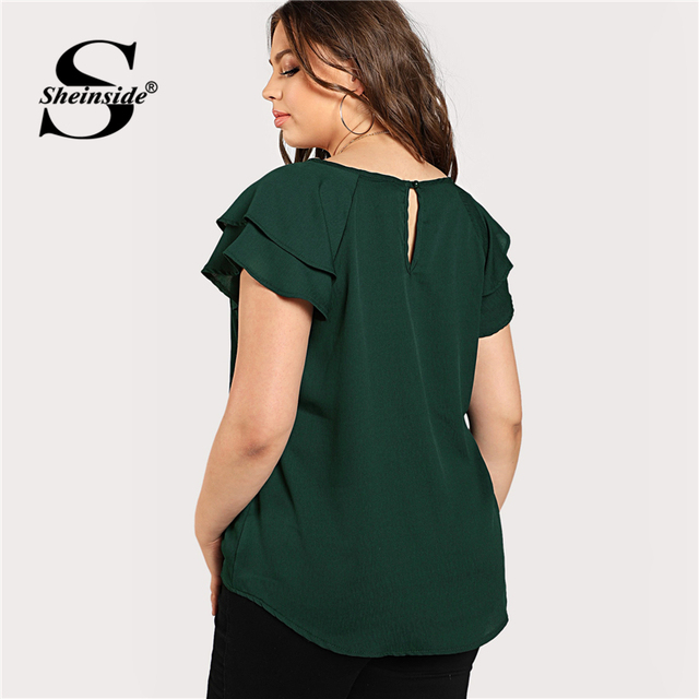Sheinside Green Plus Size Keyhole Neck Loose Top Long Blouse With Butterfly Sleeve Summer Tops for Women 2019 Cap Sleeve Blouses 1