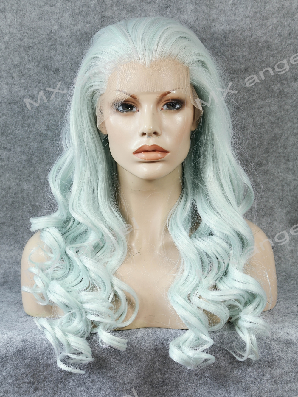 K07 Cheap 26inch Wavy Light Blue Color Synthetic Lace Front Wigs Heat Resistant Heavy Density kanekalon