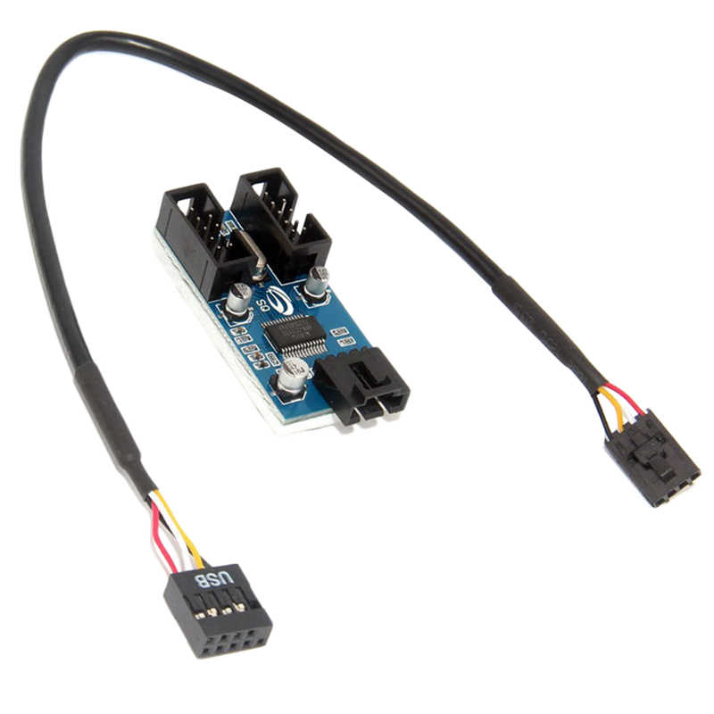 9Pin Motherboard Header untuk Dual 9-Pin Male Ekstensi Usb Adaptor Splitter Kabel