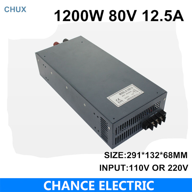switching power supply 80V 12.5A 1200W 110~220VAC  single output input  for cnc cctv led light(S-1200W-80V) single output switching led power supply 18v 5 5a 100w ac100 240v to dc18v led driver adapter for led strips light cnc cctv