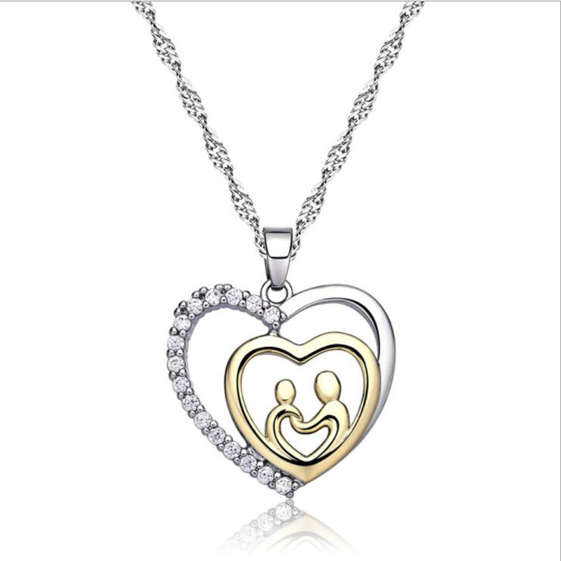 ONEVAN New Charm 925 Sterling Silver Necklace Shiny CZ Heart Mother Child Pendant Necklaces for Women Mother's Day Jewelry Gifts