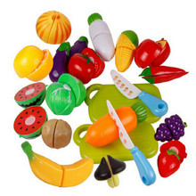2019 New Children Play House Toy Cut Fruit Plastic Vegetables Kitchen Baby Classic Kids Toys Pretend Playset Educational Toys(China)