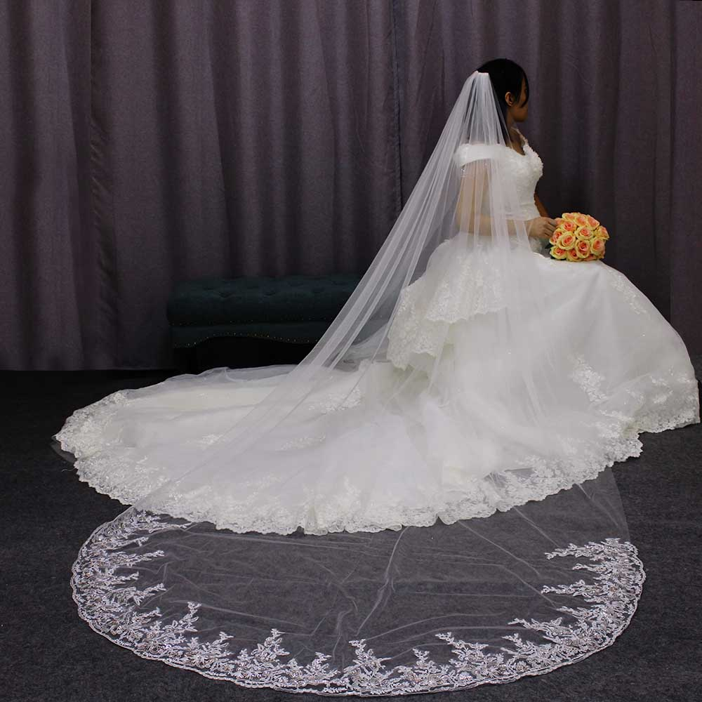 Soft Tulle 3 Meters Long Bridal Veil With Metal Comb One Tier White Ivory Wedding Veil Welon Bride Accessories