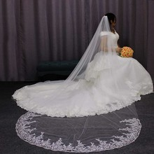 Soft Tulle 3 Meters Long Bridal Veil with Metal Comb One Tier White Ivory Wedding Welon Bride Accessories