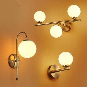 現代北欧ガラスメタ黒/ゴールドボールレトロヴィンテージ壁ランプ E27 ロフトカフェ寝室玄関