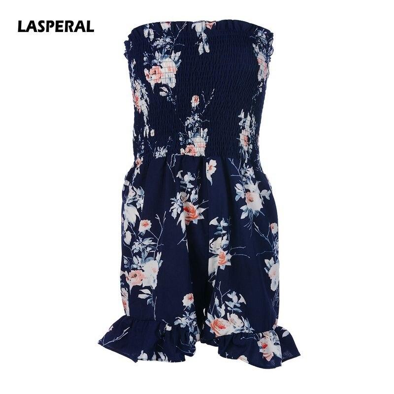 LASPERAL 2018 Summer Spring Women Playsuit Sexy Off Shoulder Slash Neck Floral Print Sweet Romper Women Casual Beach Jumpsuit