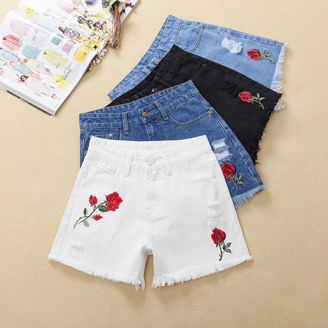 7f45a9dc9 Thoshine 2017 Summer Women Short Jeans Embroidery Flower Female Hole Denim Hot  Pants Mini Shorts Lady