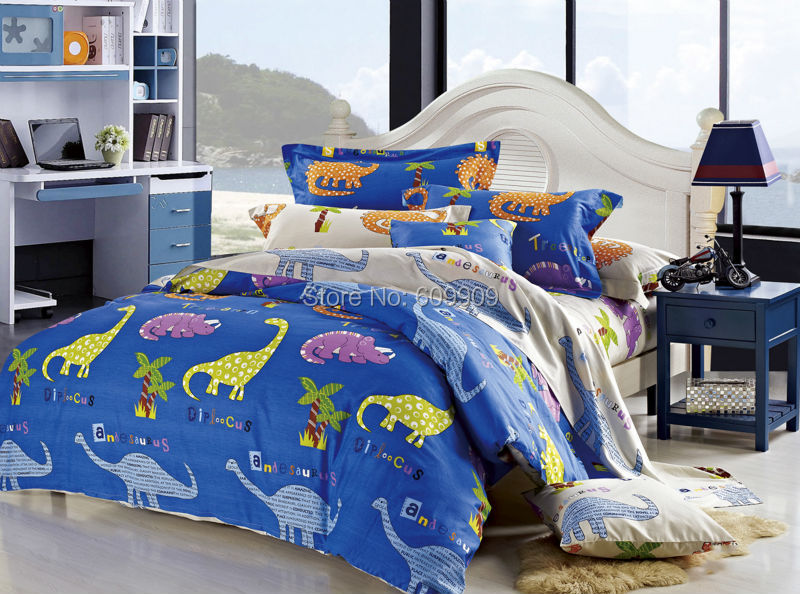 dinosaur bedding set boys girls kids bed set sheets duvet cover set single double king 2 or 3 pcs100 all cotton - Kids Sheets Boys