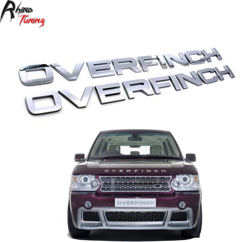 OVERFINCH Letters Matt Silver /Chrome Car Badge for Sport Bonnet Emblem Auto Hood Fender Fit Freelander Defender 516 стоимость