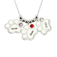 Multiple Engraved Paw Print Necklace with Birthstones Sterling Silver Dog Paw Necklace ( 3 Paw Print Price )