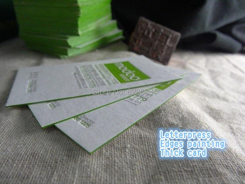 200pcs single face-Letterpress paper business cards-580gms white pure cotton paper