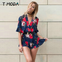 2017 Summer Style Boho V Neck Red Navy Floral Print Women Playsuits Sexy Casual Party Beach