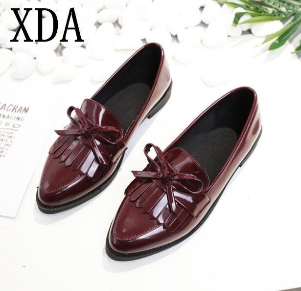 XDA 2018 fashion Woman shoes Casual Tassel Bow Pointed-toe Black Oxford Shoes Women Flats Comfortable Women single Shoes W549