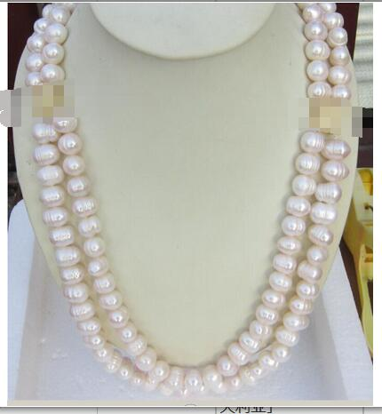 Free shipping HUGE AAA 10 11MM DOUBLE STRANDS WHITE SOUTH SEA PEARL NECKLACE 22 INCH