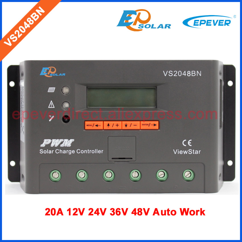 20A PWM VS2048BN EP ViewStar series Solar controller 20amps regulator 12V/24V/36V/48V battery charger work lcd display vs6048au 48v battery charger work solar 60a controller pwm viewstar series 36v 24v auto work epever epsolar lcd display 60amps