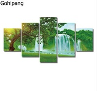 Sunrise Waterfall Canvas Paintings 5Pcs Wall Art HD Posters Modern Scenery Wall Picture For Home Decor