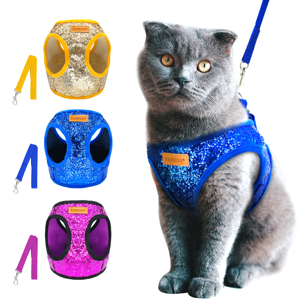 Bling Sequins Cat Dog Harness And Leash Set Adjustable Puppy Kitten Walking Harnesses Vest Traction Belt For Small Dogs Cats