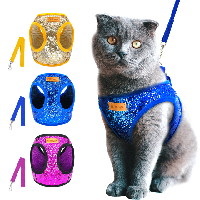 Bling Sequins Cat Dog Harness and Leash Set Adjustable Puppy Kitten