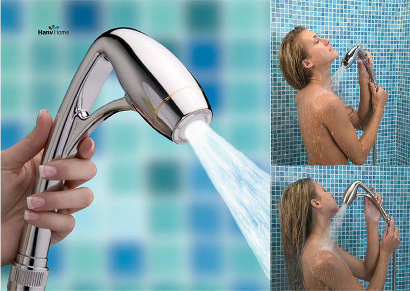 Oxygen ABS Handheld Shower Hotels Pressure Boosting High Electroplate Power Massage Shower Head with Arm Showerhead 03-201