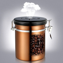 1.5L Coffee Beans Container One-Way Breathable Time Tracking Large Airtight Stainless Steel Storage Cans Kitchen Storage Pot Jar