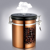 1.5L Coffee Beans Container One Way Breathable Time Tracking Large Airtight Stainless Steel Storage Cans Kitchen Storage Pot Jar