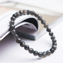 Wholesale Genuine Natural Black Sunstone Moonstone Bracelets Women Lady Stretch Crystal Round Bead Bracelet 6mm wholesale blue natural crystal bracelets 6mm beads with pink magnolia flower pendant crystal bracelet for women fresh jewelry