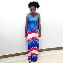 Женская мода новое растительное Африканское платье тонкое Сращивание