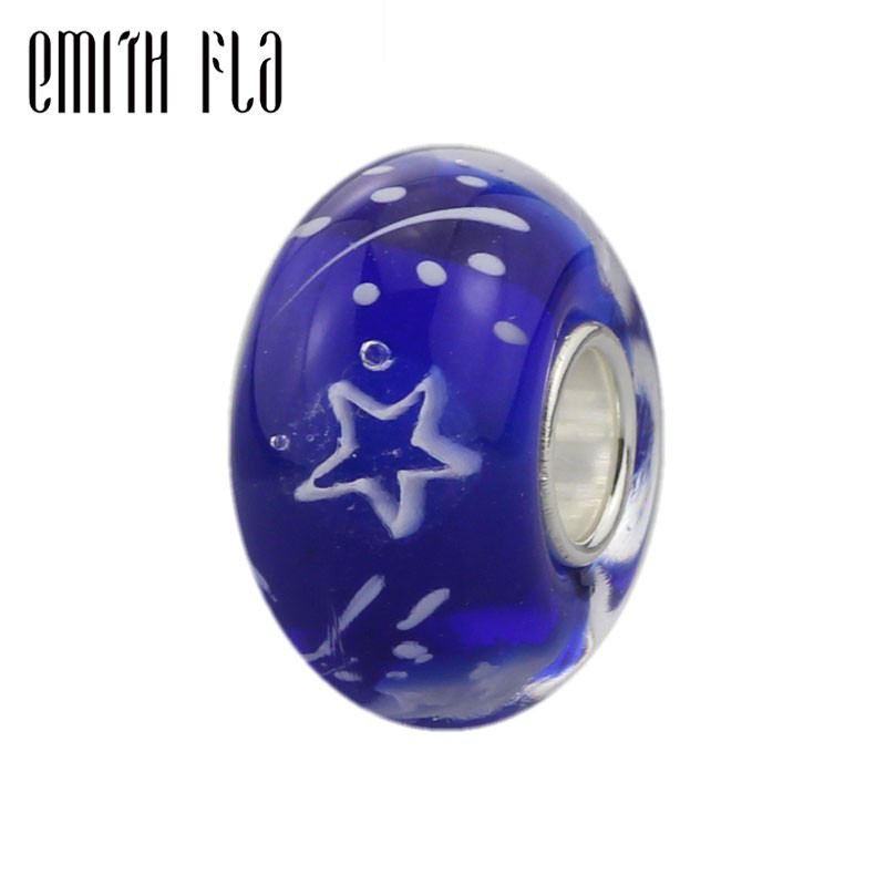 2018 New 925 Sterling Silver Meteor Shower Blue Murano Glass Beads Charms DIY Fit For European Original Bracelets And Necklace