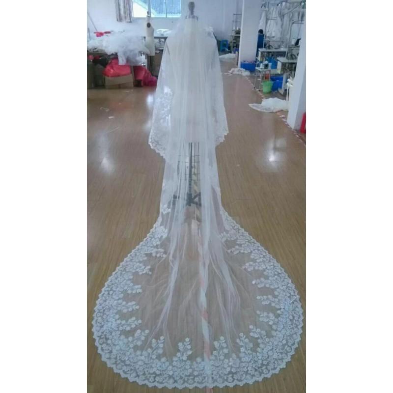11-$80-Weddign Accessories Long Veils 3 Meters long Lace Appliques Edge Bridal Veil Wedding Veils Veu De Noiva