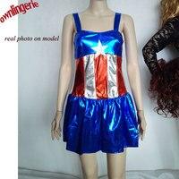 Envío libre Mujer Traje Del Capitán América Niña Estilo Capitán América Disfraz para Halloween