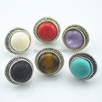 Wholease 6PCSET Multicolor Stone Adjustable Ring New Arrival Antique Silver Plated Vintage Look Finger Ring Women Jewelry