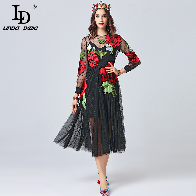 LD LINDA DELLA 2019 Fashion Runway Autumn Dress Women s Long Sleeve Flower Embroidery Black Mesh