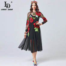 6d10b779c LD LINDA DELLA Moda 2019 pista vestido de Otoño de manga larga de las mujeres  flor bordado de malla negro elegante vestido vesti.