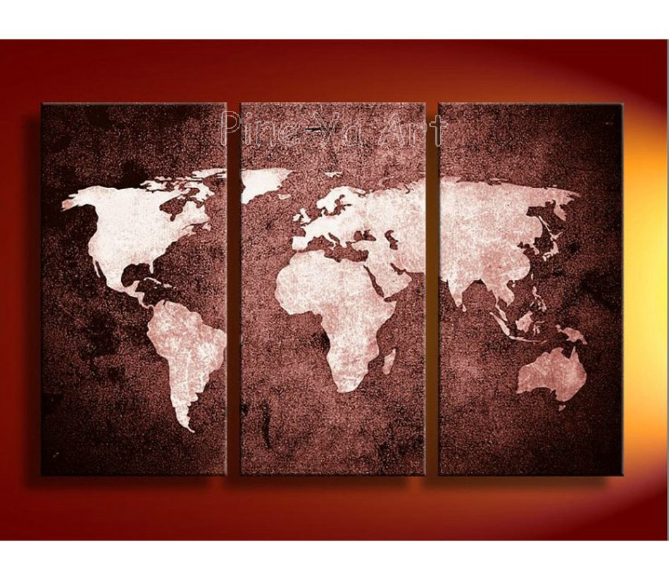 3 panel abstract wall art cheap modern hand painted world for How to canvas art
