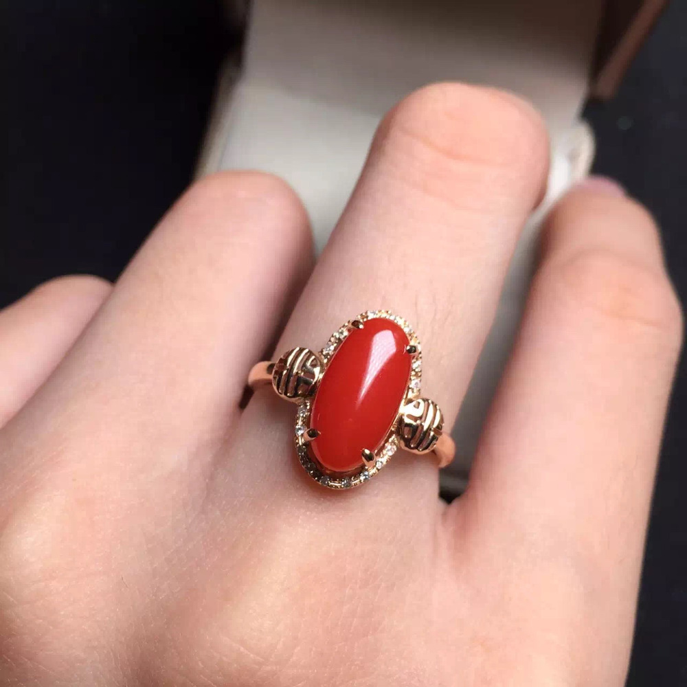 64127mm fine jewelry 18k gold red coral rose ring for women