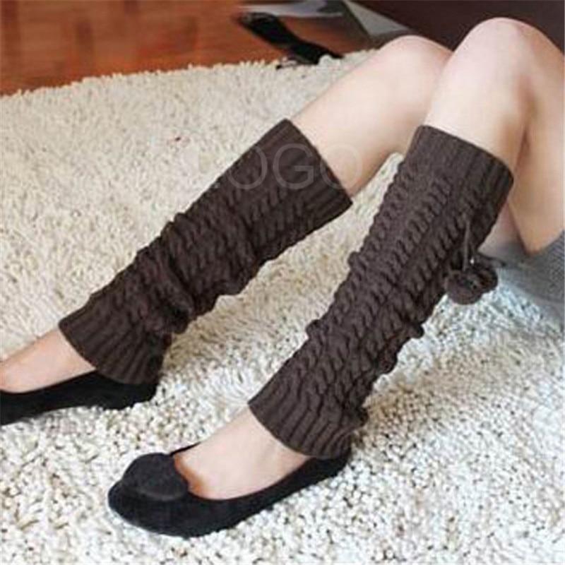 1 Pair Legging Knee High Sock Knit Fashion Women Elastic Winter Warmer Legging Knee High Sock Leg