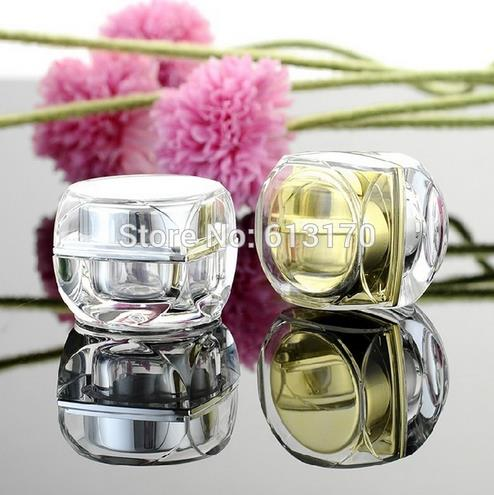 5g,10g Empty cream jar Square Acrylic Mini sample jars Gold Silver Diy Makeup cosmetic packing container free shipping