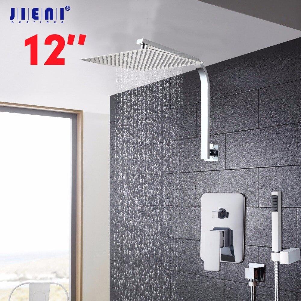 ツ)_/¯Montado en la pared lluvia ducha de lujo ducha cuadrada 6 8 10 ...