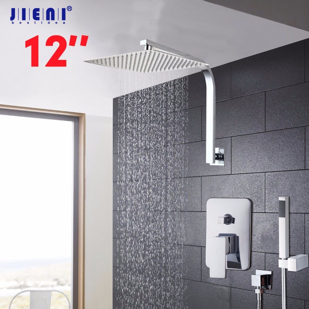 Wall Mounted Rain Shower Set Luxury Square Shower Head 6 8 10 12 16Shower Set with Hand Shower Chrome