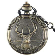 Retro Deer Quartz Pocket watch chain for men Fashion Bronze Fob watches Pendant Childs Boys Watch Gifts Relogio De Bolso(China)