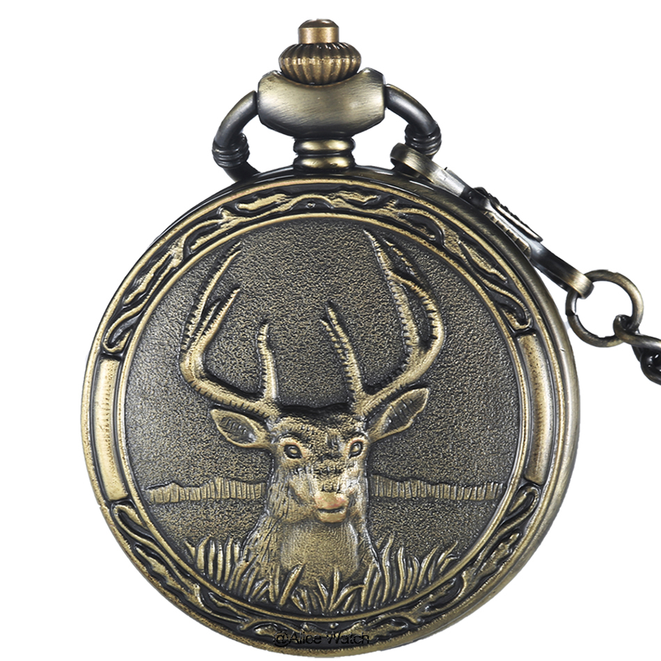Retro Deer Quartz Pocket watch chain for men Fashion Bronze Fob watches Pendant Childs Boys Watch Gifts Relogio De Bolso