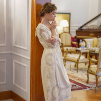 LYNETTE'S chinoisery Весна Лето оригинальный дизайн для женщин Ограниченная серия античный крючком вышитые винтажные платья принцессы