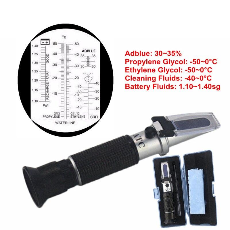 De poche 4 DANS 1 Antigel Point de Congélation Testeur Adblue Concentration D'éthylène Glycol Voiture Batterie Réfractomètre Avec ATC